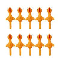 10pcs Stretchy Slingshot Chicken Turkey Finger Catapult Flying Game Tricky Toy