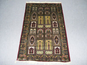 Oriental Red color Rug Hand Knotted Rug Aria Rug Afghan Small Silk carpet 3x5 ft