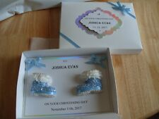 Handmade Personalised Boxed Baby Boy Christening Card and Box