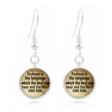 Be Kind Quote Glass Dome Earrings Art Photo Tibet silver Earring Jewelry #48