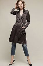 NWT $398 Anthropologie Ghost Dark Gray Satin Belted Trench Midi Duster Jacket M