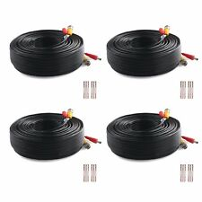 (4) 200ft Power Video Security Camera Cable Bnc Extension Wire for All Cctv Dvr