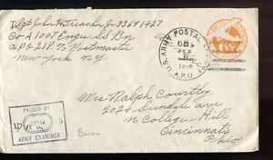 1940 Burma(?) to USA forces air mail postal stationery APO cancel box censor h/s