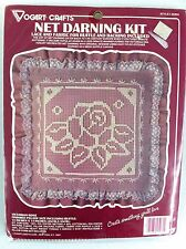 Victorian Rose Lace Net Darning 14in Ruffle Pillow Kit Sealed Vogart Crafts 2526