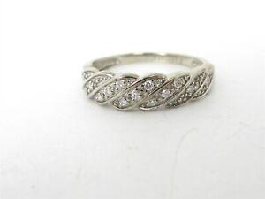 Estate 10k White Gold 5mm Natural .10ctw Diamond Ladies Band Ring 2.1g