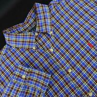 Mens Polo Ralph Lauren Classic Fit Blue Plaids Oxford Golf Dress Shirt Size XL