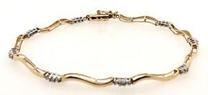 "Heng Ngai 10K Yellow White Gold Diamond Accent 7.25"" Bracelet 3.10 Grams 417"