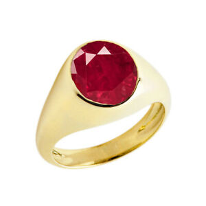 Solid Gold Ruby Birthstone Gentlemans Pinky Ring in 14K (Yellow/Rose/White)
