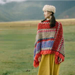 Ladies Knitted Poncho Blanket Shawl Tassel Rainbow Sweater Cardigan Jumper Warm