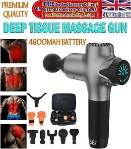 Deep Tissue Percussion Massage Gun 4800mAh Battery 8 Heads Cordless Theragun