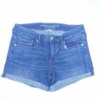 American Eagle Outfitters Womens Midi Jean Shorts Blue Stretch Cuffed Pockets 12