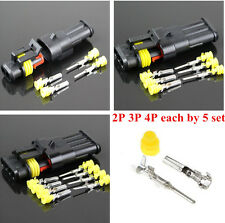 Car Auto Motor 15 Kits Sets 2 3 4 Pins Way Sealed Electrical Wire Connector Plug