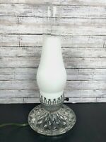 "Vintage Clear Glass Quilted Base Hurricane Table Lamp Electric 13.5"" Boudoir"