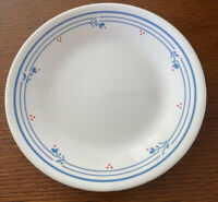 """Corelle Country Violets Blue Flowers Red Dots Plate 8.5"""" Farmhouse"""