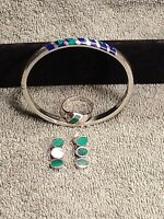 Vintage Very Rare Lapis/Malachite Taxco 925 Silver Bracelet Ring & Earrings Set!