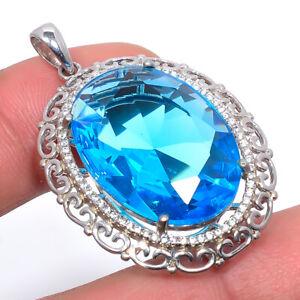 "Blue Topaz & White Topaz Gemstone 925 Sterling Silver Pendant Jewelry 1.76"" S262"