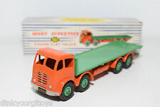 DINKY TOYS 902 FODEN FLAT TRUCK ORANGE / GREEN RIVET BACK NEAR MINT BOXED RARE