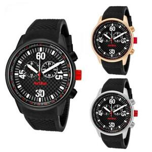Mens Watch RED LINE TECK Chrono Silicone Black Rose Diver Sport WR 100 mt