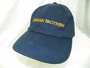 Vintage AUTHENTIC LEHMAN BROTHERS Blue Cap with Gold Stitch Lettering