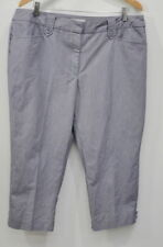Dressbarn Cropped Dress Pants Size 16 Womens Blue White Stretch Capri