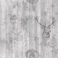 Cerf Bois Panneau Papier Peint Gris / Argent - holden 90090