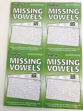 Lot of 4 MISSING VOWELS Word Search Seek Find Penny Press Puzzles Dell Variety x