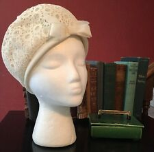 True Vintage Hat Eyelet Lace Design Retro Hollywood Glam Church Hipster