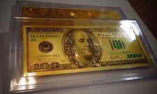24 KARAT 99.9% GOLD $100 DOLLAR *GREEN SEAL *USA  BILL-I N ACRYLIC SLAB HOLDER