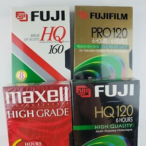 FUJI HQ, Fujifilm Pro, Maxell  Lot of 4 Blank VHS 6/8 Hour Tapes New