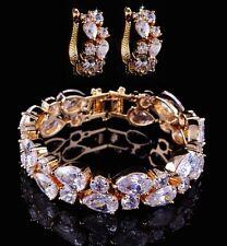 14k Gold Bracelet Earring Set made w/ Swarovski Crystal Bling Clear Stone Bridal