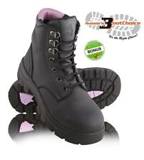 NEW STEEL BLUE Ladies Work Boots Black Argyle Steel Toe, Lace Up ALL SIZES+BONUS