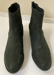 SOREL Womens Black Leather Slip On Ankle Boots NL3078-010, Size 11