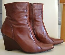 NEXT Ladies Brown Real Leather Wedge Heel Ankle Boots Zip Fastening Size 5 / 38