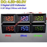 2-Wire Digital LED Display Panel Voltmeter For DC 6V 12V 24V Voltage Car Battery