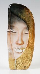 Mats Jonasson Masq series Mystiqua Gold glass face sculpture, signed
