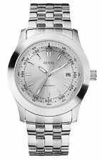 GUESS WATERPRO SILVER POLISHED,BRUSHED TONE STAINLESS STEEL WATCH+DATE U95133G2