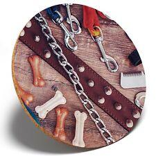 1 x Dog Collar Leashes Pet - Round Coaster Kitchen Student Kids Gift #14894