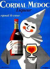 Original Vintage Poster Cordial Medoc Blue Crown 1955 French Liquor Harlequin