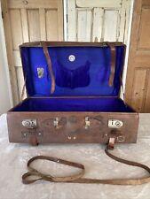Vintage Chinese Sam Tat Expandable Leather Suitcase Luggage Shanghai