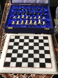 """Handmade Marble Chess Board Plus Pieces Set 12"""" In Velvet Box Free Gift"""