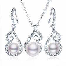 Ivory White Pearls Silver Bride Wedding Jewellery Set Necklace Earrings S925