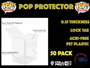 "50X 4"" Funko Pop Vinyl Protector Case, Acid Free 0.35mm Thick, Lock Tab"