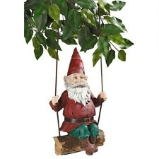 Sammy The Swinging Gnome Design Toscano Exclusive Hand Painted Statue With Swing