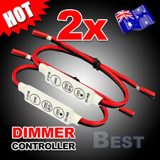 2x 12V Mini LED Strip Light Dimmer Controller with On Off Switch for 3528 5050