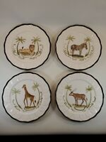 Set Of 4 Vintage Hand Painted Safari Plates Ernest Hemingway Collection Rare HTF