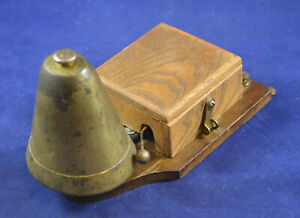 ANTIQUE VINTAGE WOODEN BRASS ELECTRIC DOOR BELL HOUSE BUTLER BELL