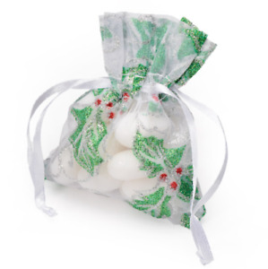 10 CHRISTMAS HOLLY GLITTER ORGANZA BAG WEDDING FAVOURS TABLE DECO PARTY 7.5x10CM