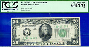 FR-2057-G - 1934-C $20 FRN (( Old Back - Chicago )) PCGS 64EPQ  # G21415295A