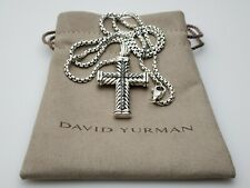 David Yurman Men's Chevron Cross Pendant Necklace with Black Diamonds 22 chain