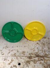 2 Vintage Plas-Tex Las Angeles Calif. Pt-876 Divided Plastic Plates